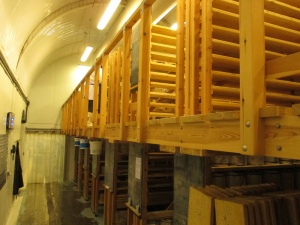Shelving for the hard cheeses.