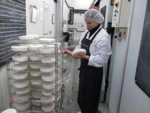 Sarah working on the soft cheese.